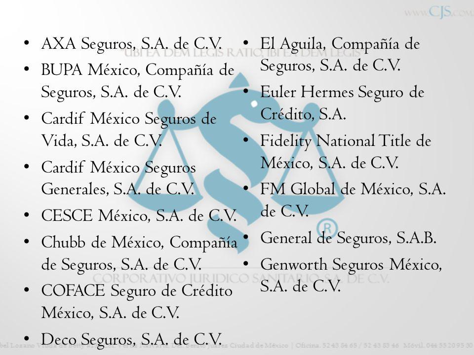 AXA Seguros, S.A. de C.V. El Aguila, Compañía de Seguros, S.A. de C.V. BUPA México, Compañía de Seguros, S.A. de C.V.