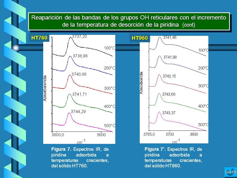 Reaparición de las bandas de los grupos OH reticulares con el incremento de la temperatura de desorción de la piridina (cont)