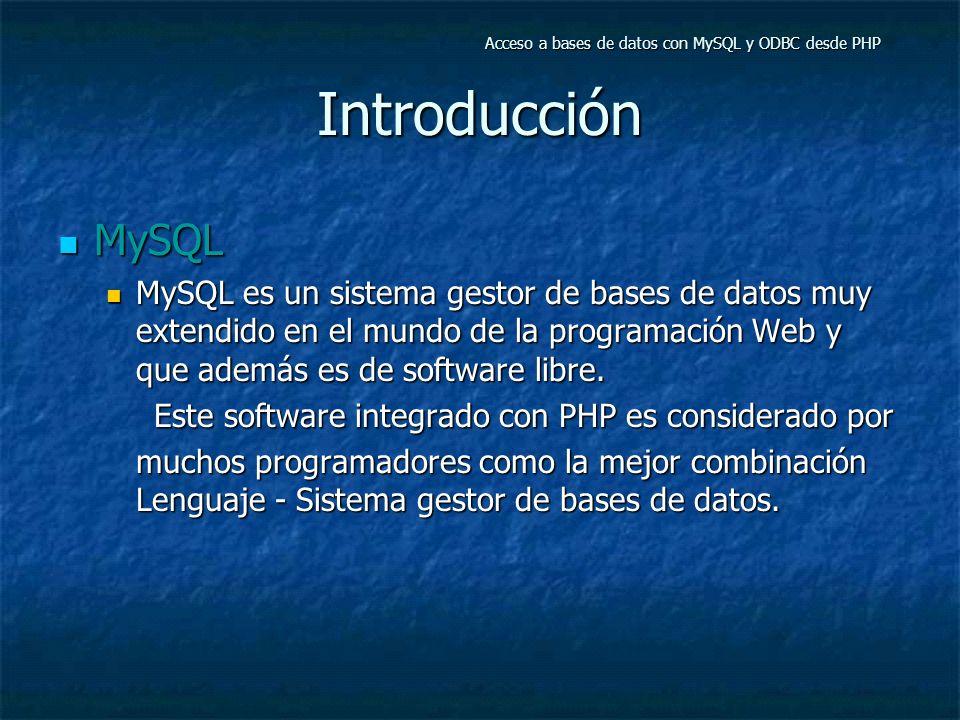 Acceso a bases de datos con MySQL y ODBC desde PHP