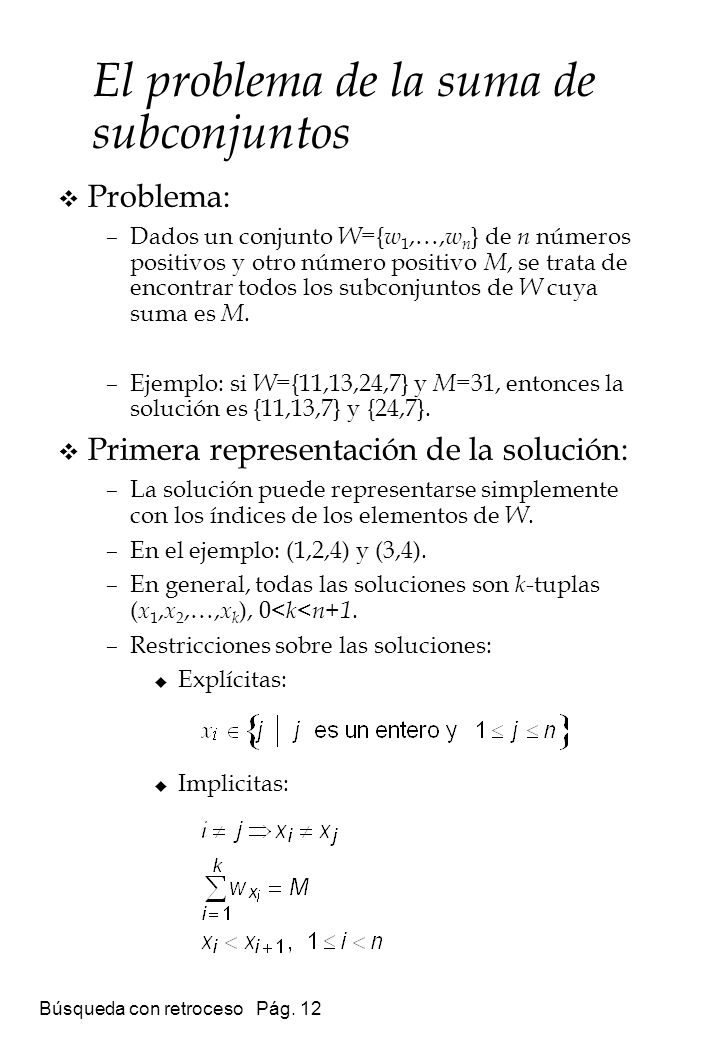 El problema de la suma de subconjuntos