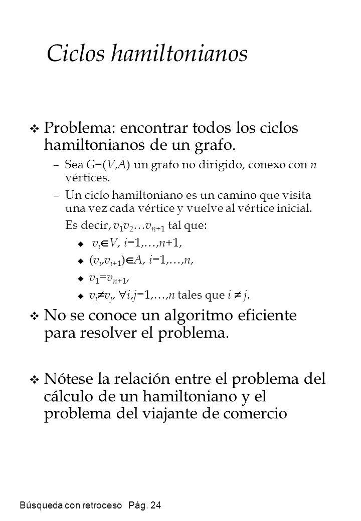 Ciclos hamiltonianos Problema: encontrar todos los ciclos hamiltonianos de un grafo. Sea G=(V,A) un grafo no dirigido, conexo con n vértices.