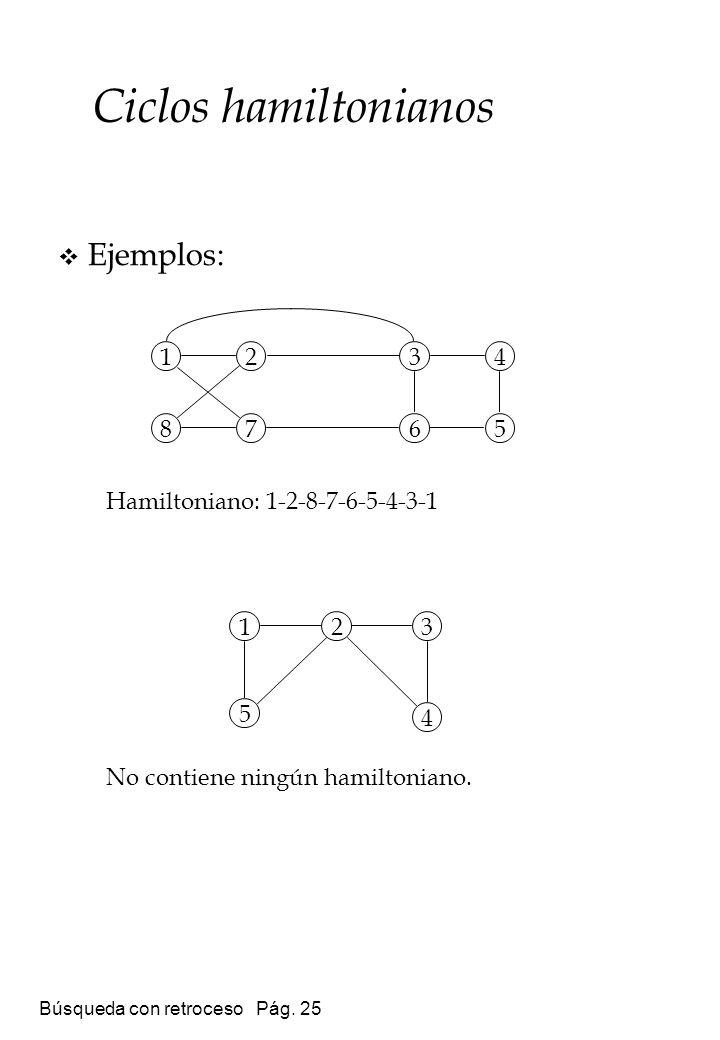 Ciclos hamiltonianos Ejemplos: Hamiltoniano: 1-2-8-7-6-5-4-3-1