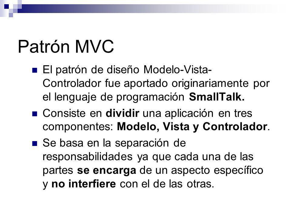 Patrón MVCEl patrón de diseño Modelo-Vista-Controlador fue aportado originariamente por el lenguaje de programación SmallTalk.