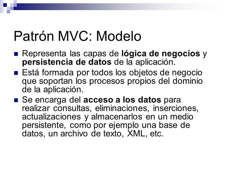 Patrón MVC: Modelo Representa las capas de lógica de negocios y persistencia de datos de la aplicación.