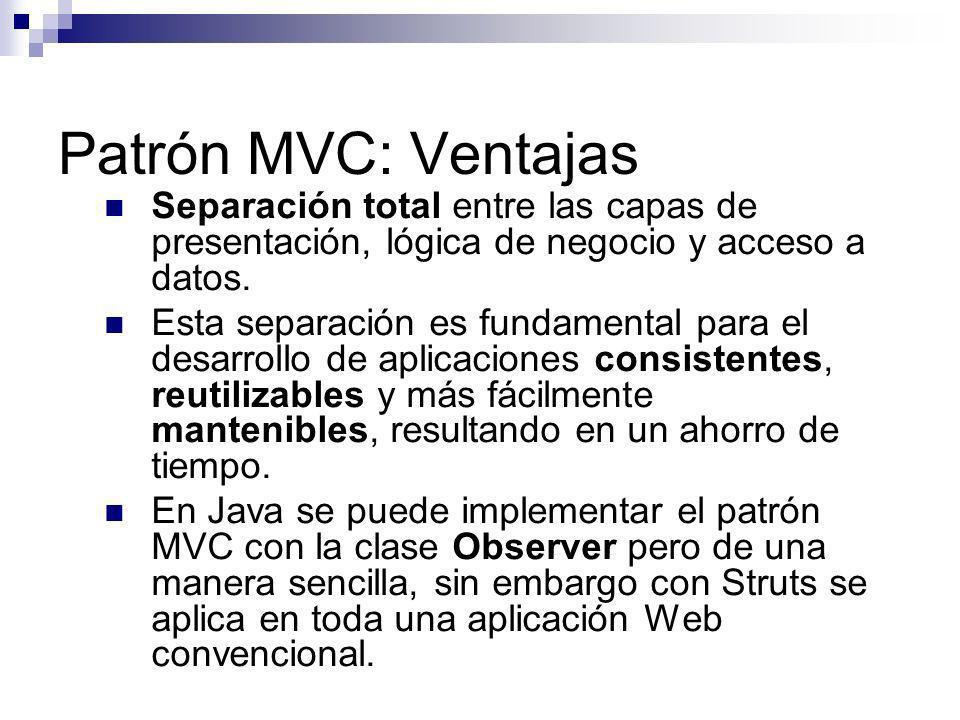 Patrón MVC: Ventajas Separación total entre las capas de presentación, lógica de negocio y acceso a datos.