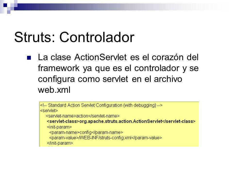 Struts: Controlador La clase ActionServlet es el corazón del framework ya que es el controlador y se configura como servlet en el archivo web.xml.