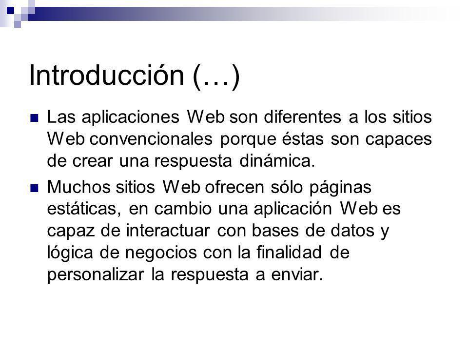 Introducción (…) Las aplicaciones Web son diferentes a los sitios Web convencionales porque éstas son capaces de crear una respuesta dinámica.