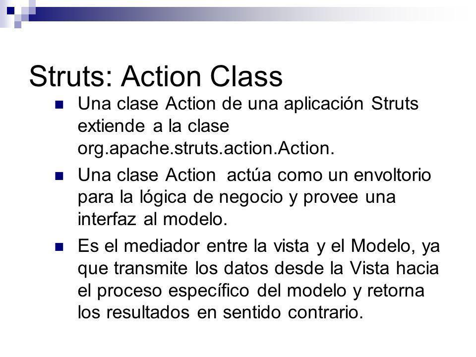 Struts: Action ClassUna clase Action de una aplicación Struts extiende a la clase org.apache.struts.action.Action.