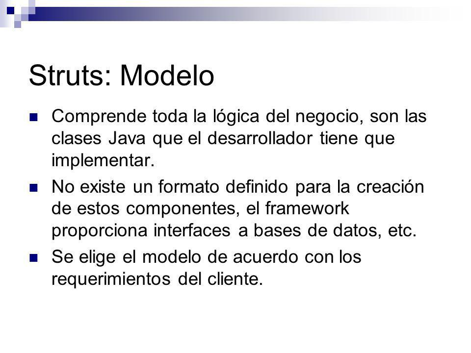 Struts: ModeloComprende toda la lógica del negocio, son las clases Java que el desarrollador tiene que implementar.