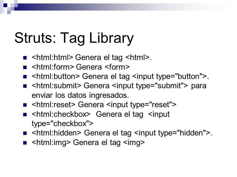 Struts: Tag Library <html:html> Genera el tag <html>.