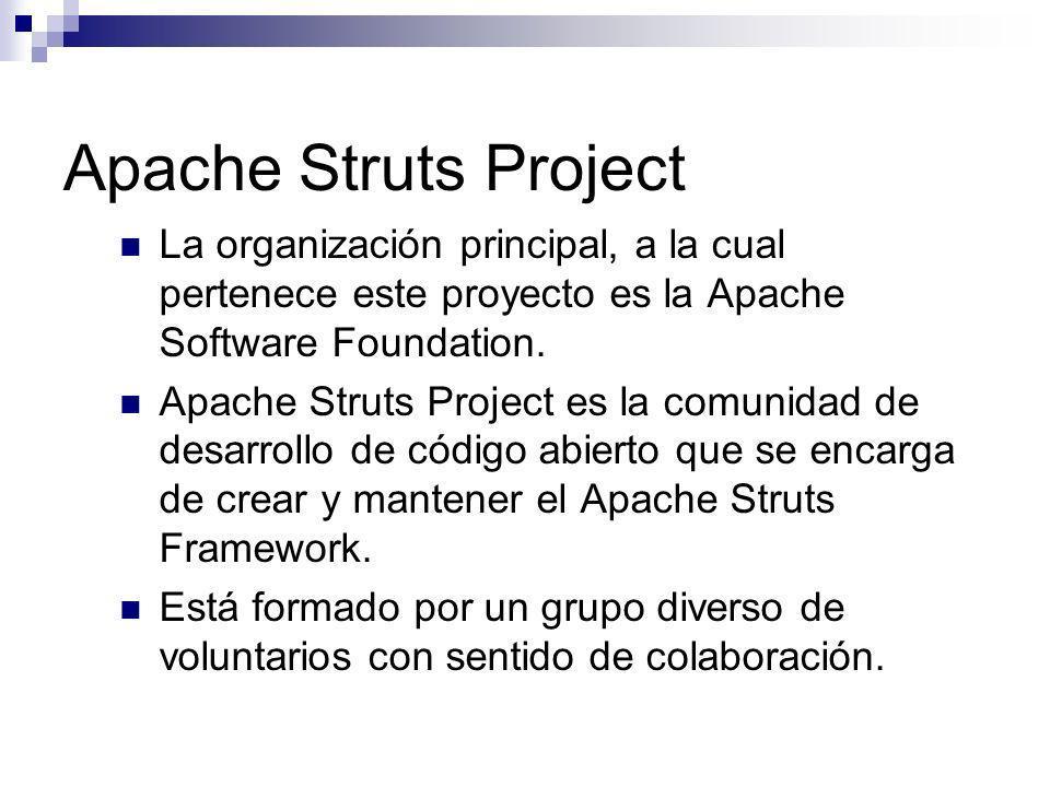 Apache Struts ProjectLa organización principal, a la cual pertenece este proyecto es la Apache Software Foundation.