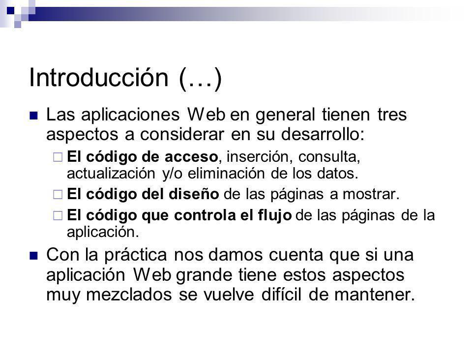 Introducción (…) Las aplicaciones Web en general tienen tres aspectos a considerar en su desarrollo: