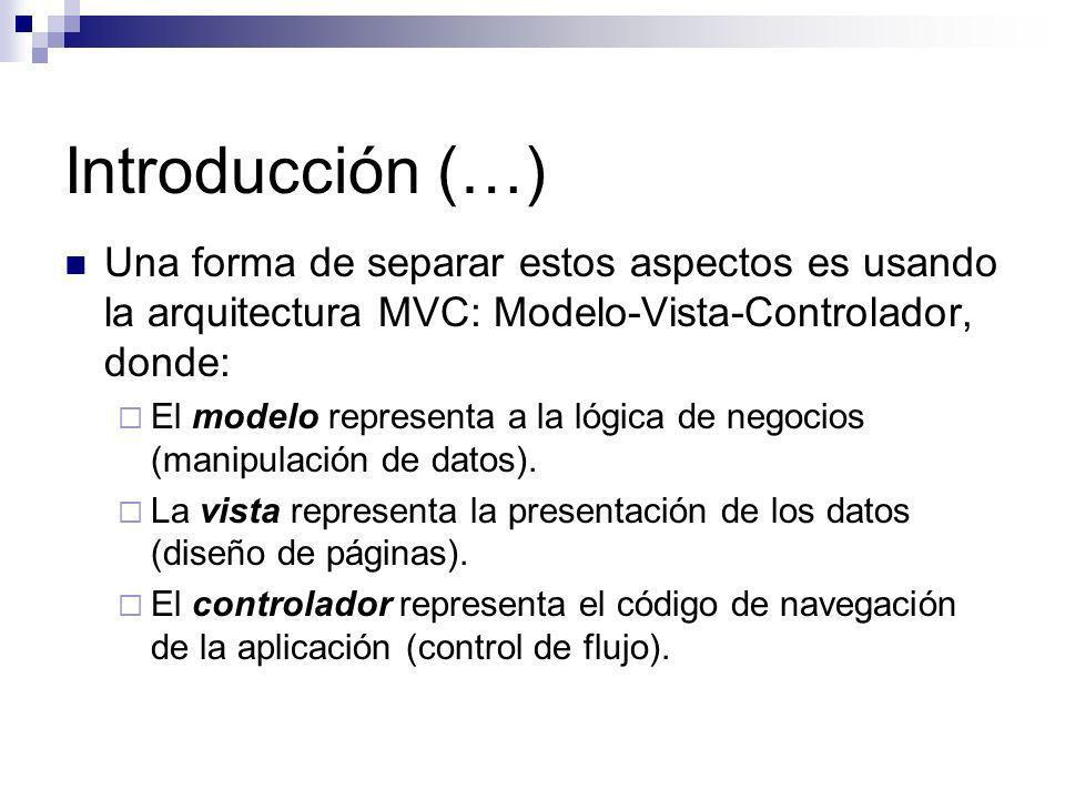 Introducción (…) Una forma de separar estos aspectos es usando la arquitectura MVC: Modelo-Vista-Controlador, donde: