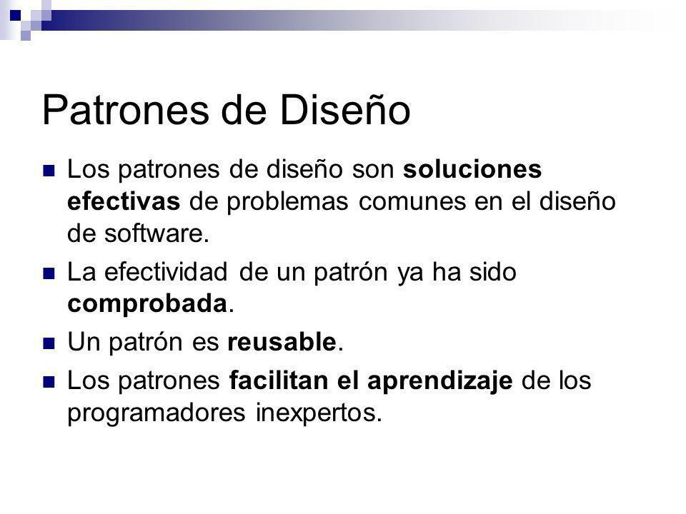 Patrones de Diseño Los patrones de diseño son soluciones efectivas de problemas comunes en el diseño de software.