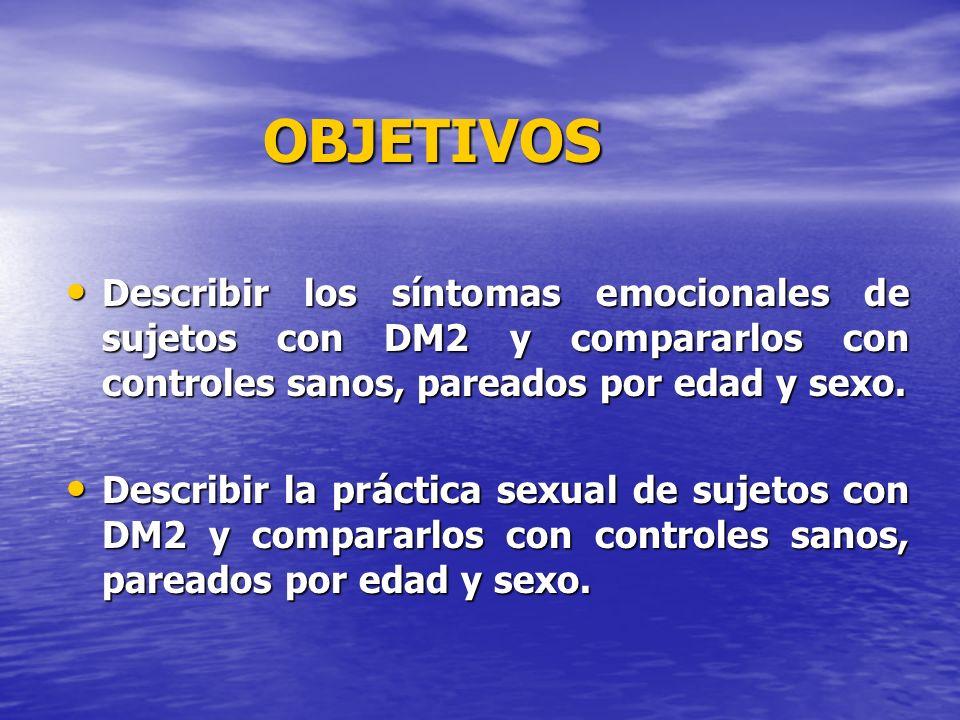 OBJETIVOS Describir los síntomas emocionales de sujetos con DM2 y compararlos con controles sanos, pareados por edad y sexo.