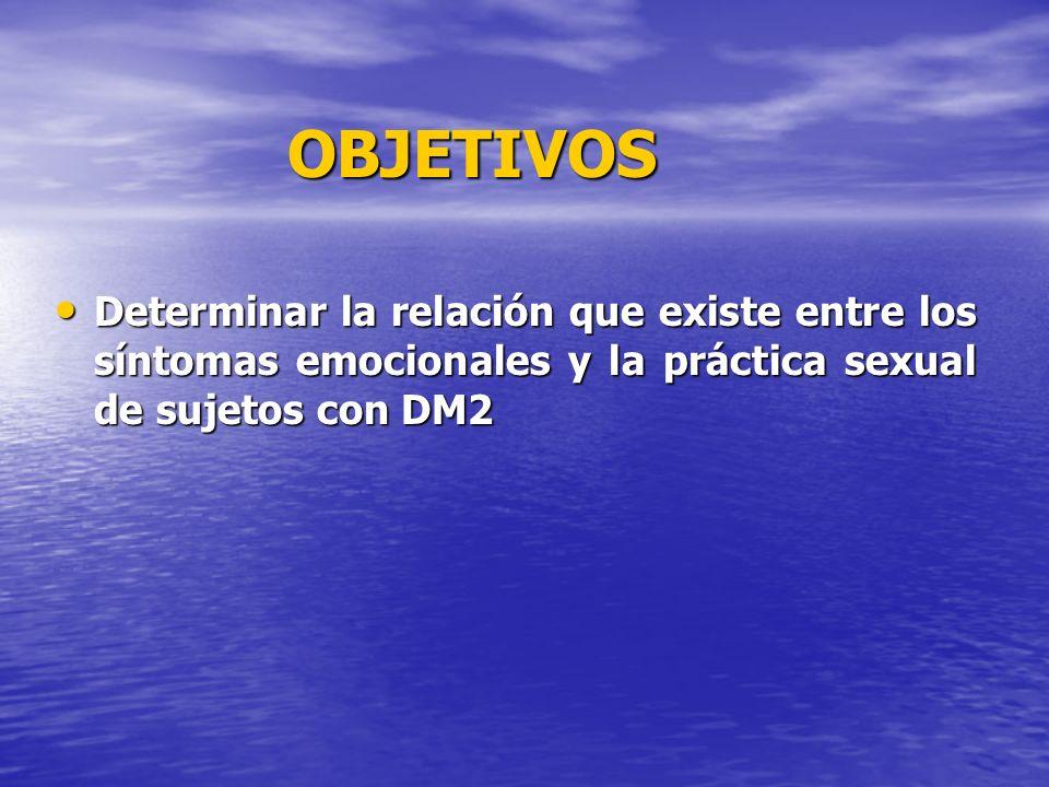 OBJETIVOS Determinar la relación que existe entre los síntomas emocionales y la práctica sexual de sujetos con DM2.