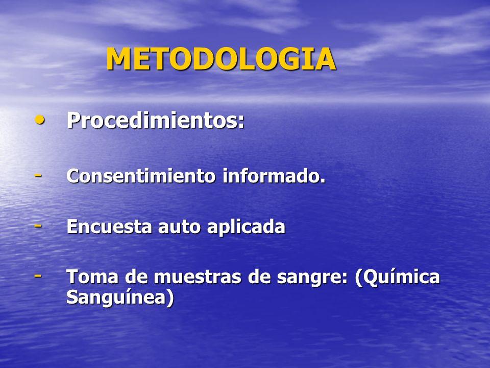 METODOLOGIA Procedimientos: Consentimiento informado.