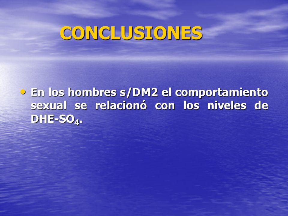 CONCLUSIONES En los hombres s/DM2 el comportamiento sexual se relacionó con los niveles de DHE-SO4.