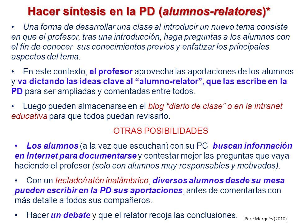 Hacer síntesis en la PD (alumnos-relatores)*