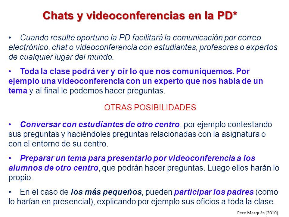 Chats y videoconferencias en la PD*