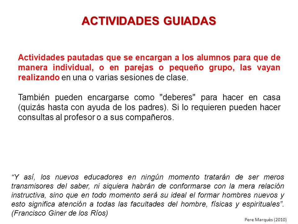 ACTIVIDADES GUIADAS