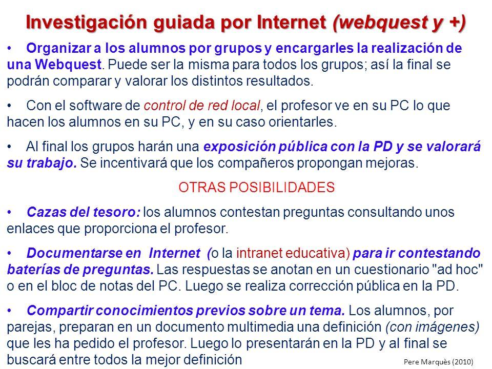 Investigación guiada por Internet (webquest y +)