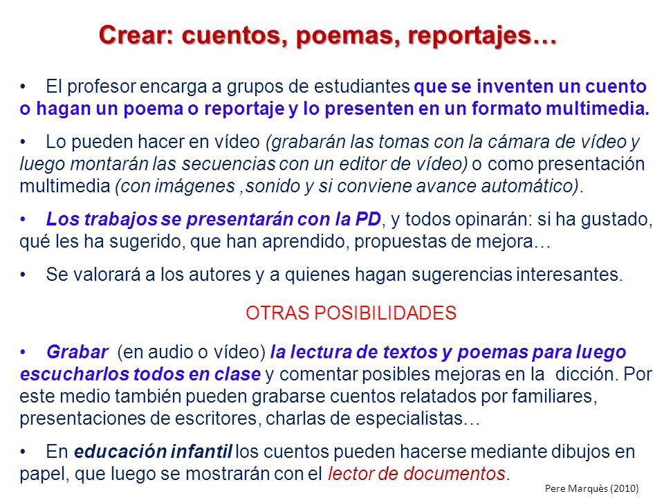 Crear: cuentos, poemas, reportajes…