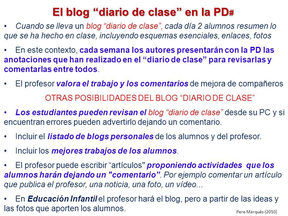 El blog diario de clase en la PD#