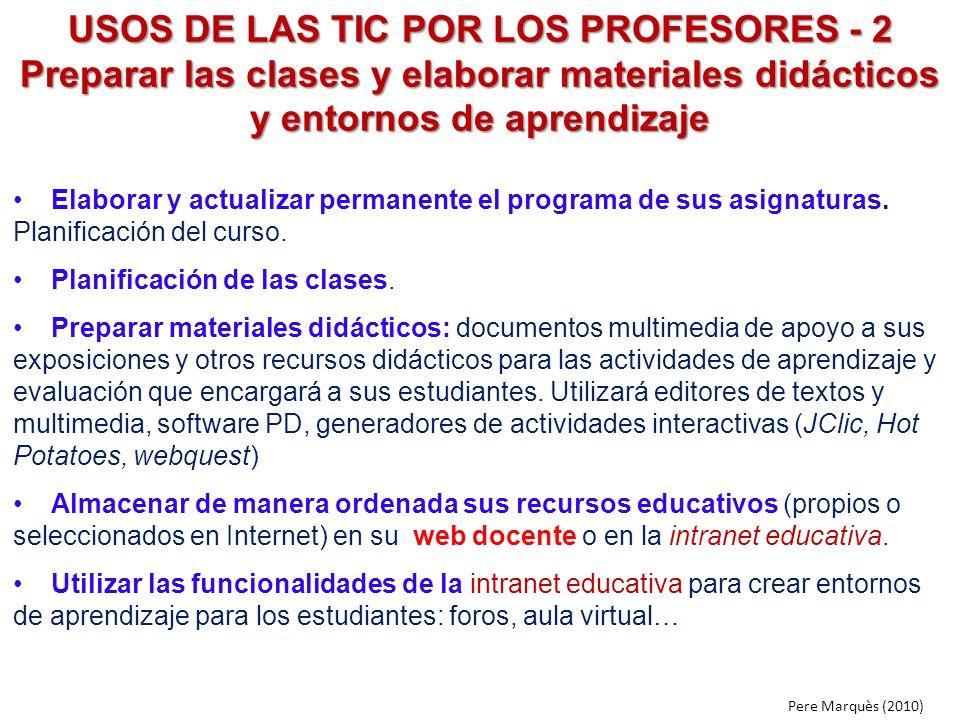 USOS DE LAS TIC POR LOS PROFESORES - 2 Preparar las clases y elaborar materiales didácticos y entornos de aprendizaje