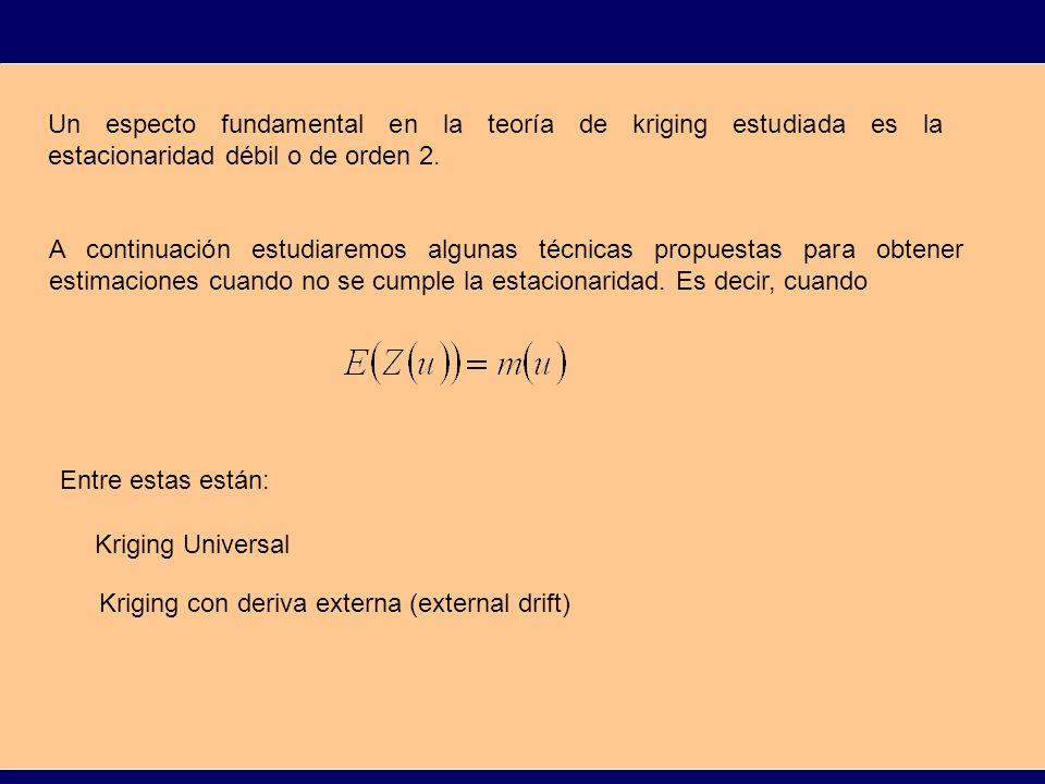Un especto fundamental en la teoría de kriging estudiada es la estacionaridad débil o de orden 2.