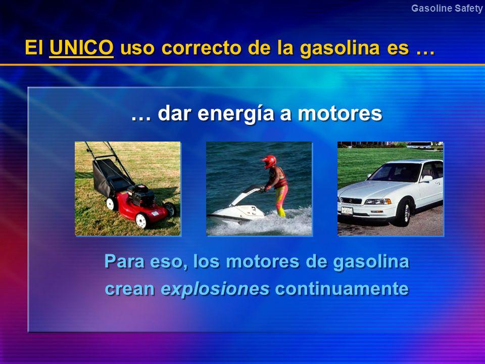 El UNICO uso correcto de la gasolina es …
