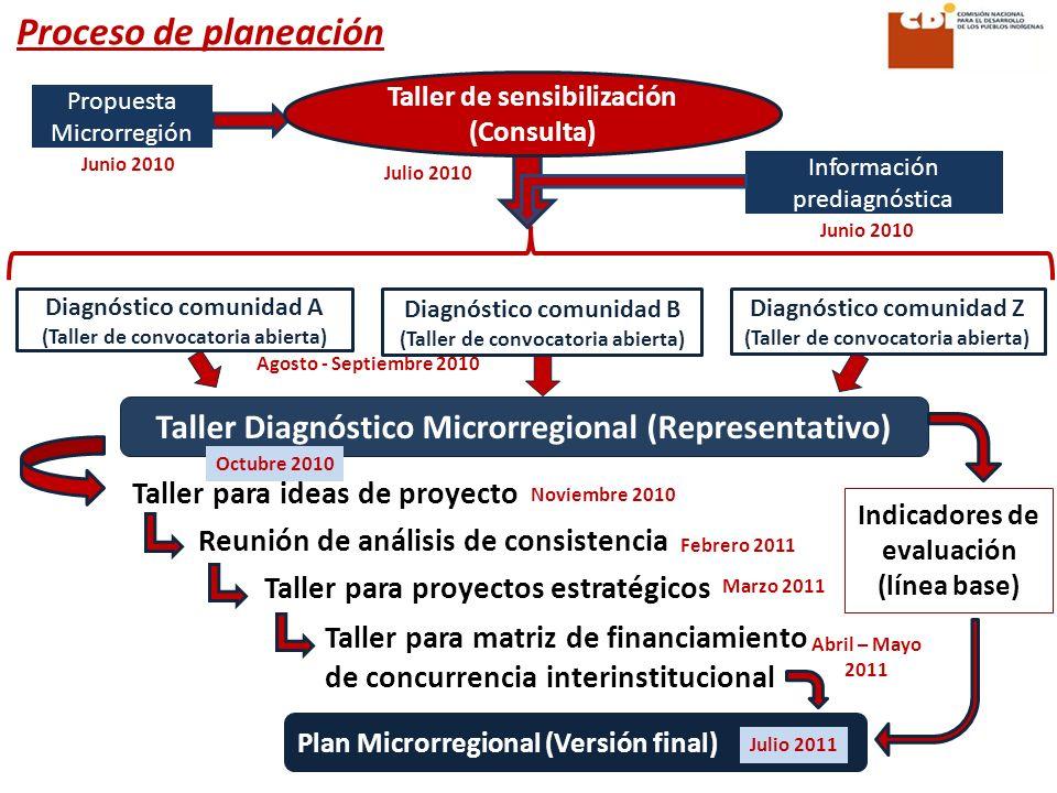 Proceso de planeación Taller de sensibilización (Consulta) Propuesta Microrregión. Junio 2010. Julio 2010.
