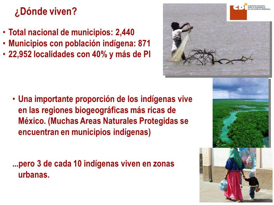 ¿Dónde viven Total nacional de municipios: 2,440