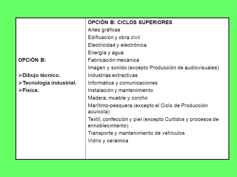 OPCIÓN B: Dibujo técnico. Tecnología industrial. Física. OPCIÓN B: CICLOS SUPERIORES. Artes gráficas.