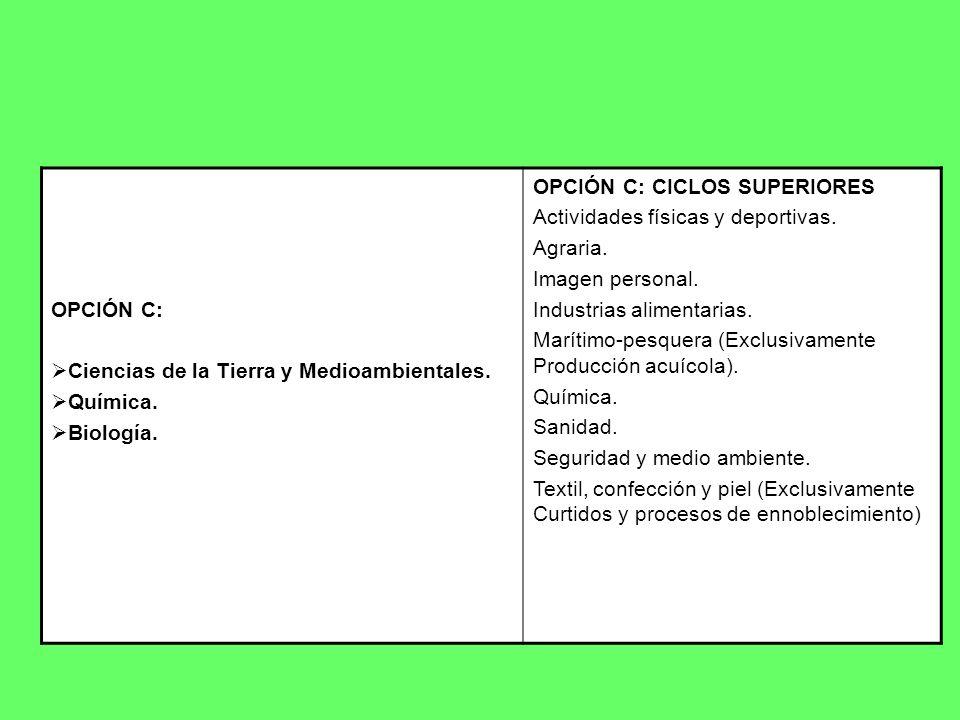 OPCIÓN C: Ciencias de la Tierra y Medioambientales. Química. Biología. OPCIÓN C: CICLOS SUPERIORES.