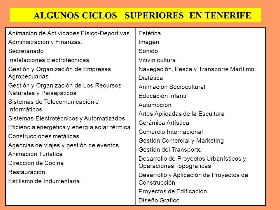 ALGUNOS CICLOS SUPERIORES EN TENERIFE
