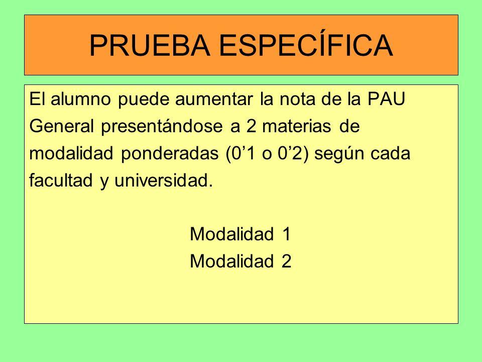 PRUEBA ESPECÍFICA El alumno puede aumentar la nota de la PAU