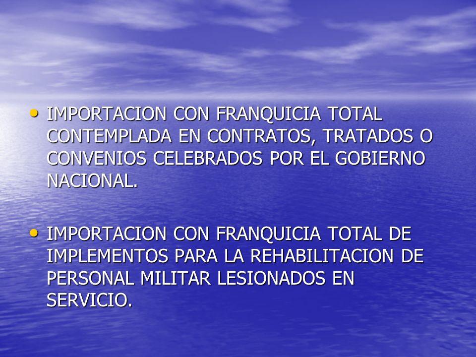 IMPORTACION CON FRANQUICIA TOTAL CONTEMPLADA EN CONTRATOS, TRATADOS O CONVENIOS CELEBRADOS POR EL GOBIERNO NACIONAL.