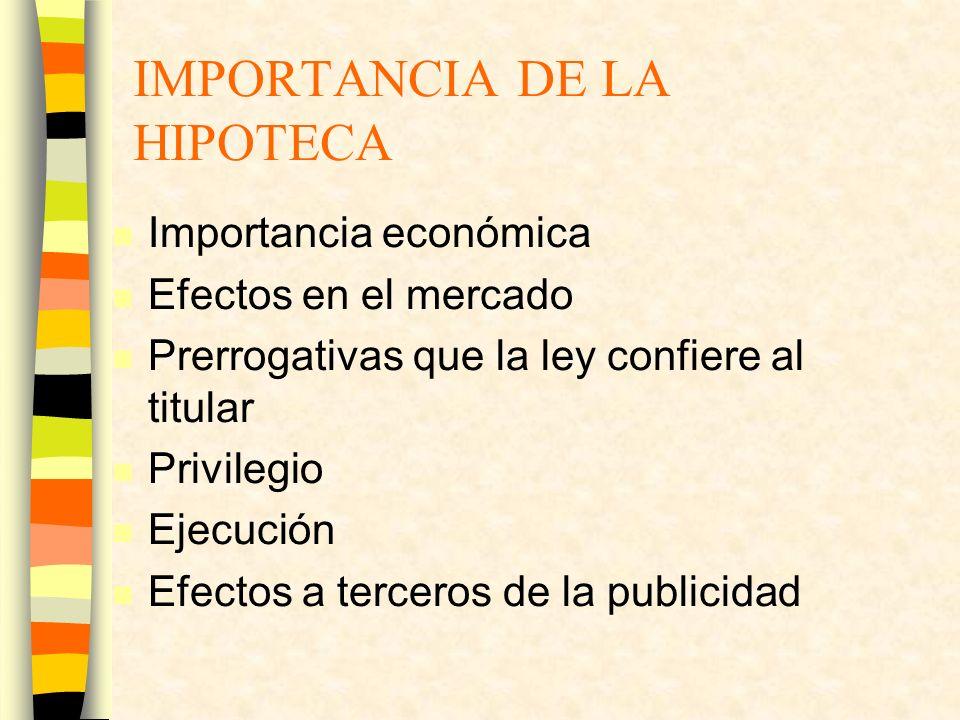 IMPORTANCIA DE LA HIPOTECA