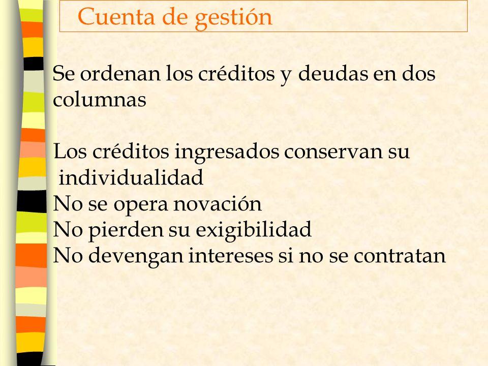 Cuenta de gestión Se ordenan los créditos y deudas en dos columnas