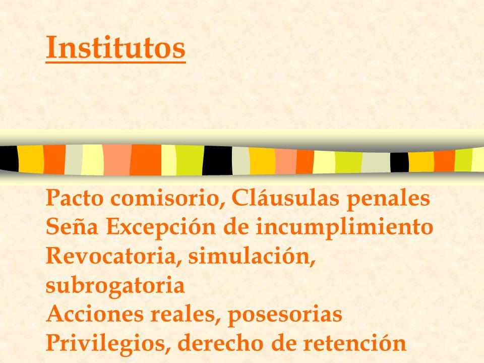 Institutos Pacto comisorio, Cláusulas penales Seña Excepción de incumplimiento Revocatoria, simulación, subrogatoria Acciones reales, posesorias Privilegios, derecho de retención
