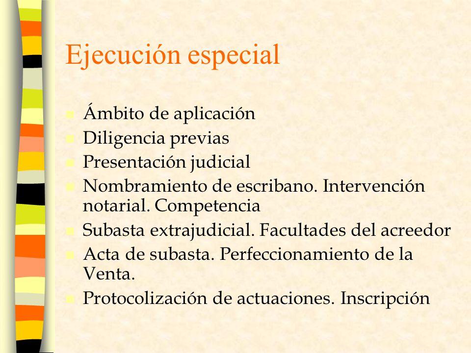 Ejecución especial Ámbito de aplicación Diligencia previas