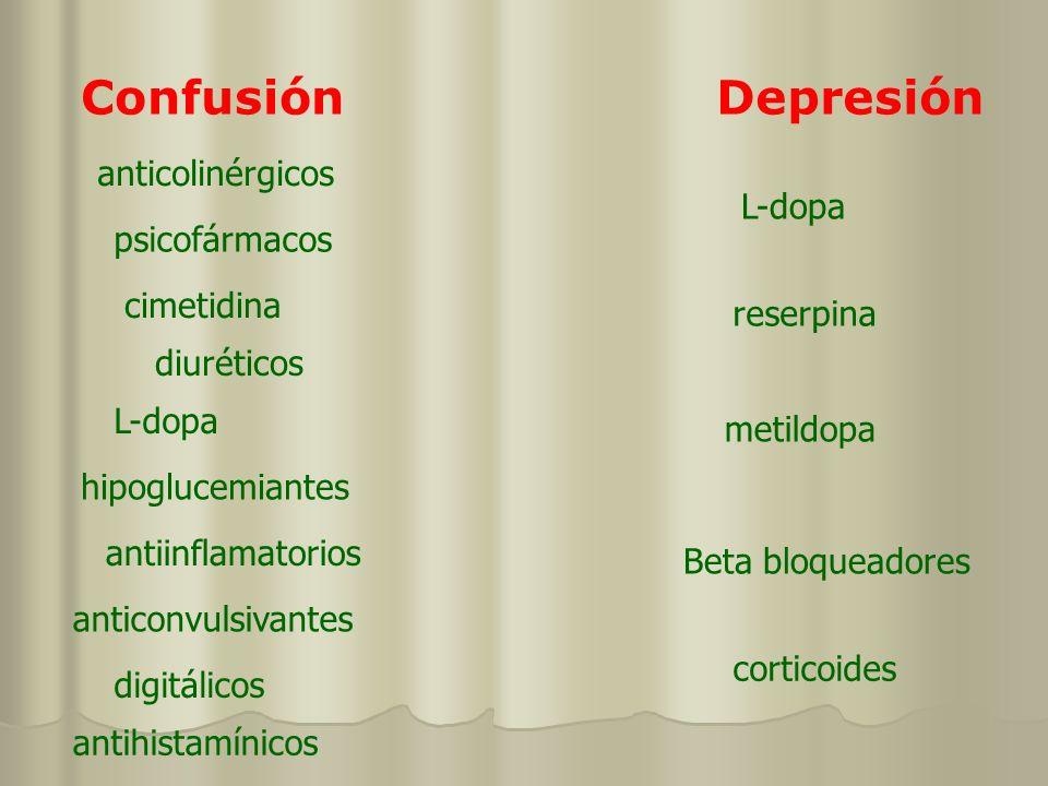 Confusión Depresión anticolinérgicos L-dopa psicofármacos cimetidina