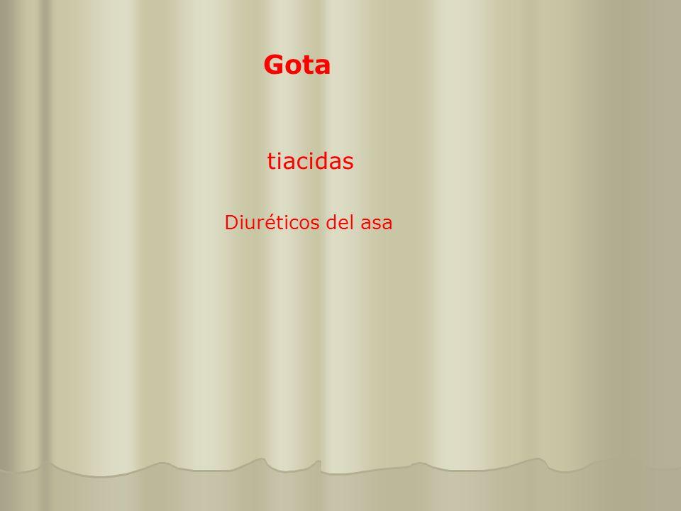 Gota tiacidas Diuréticos del asa