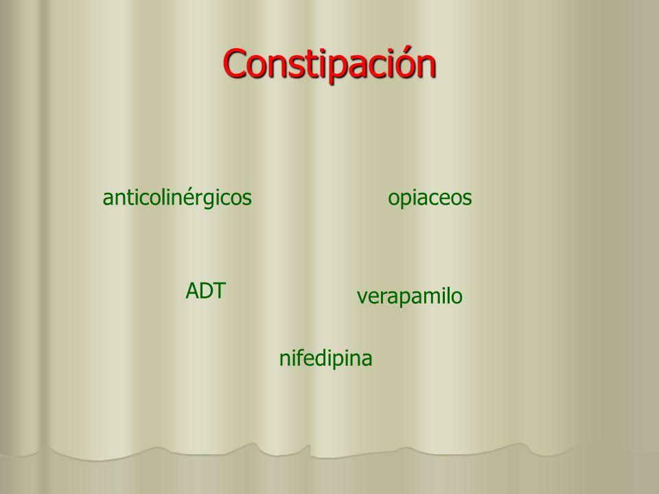 Constipación anticolinérgicos opiaceos ADT verapamilo nifedipina