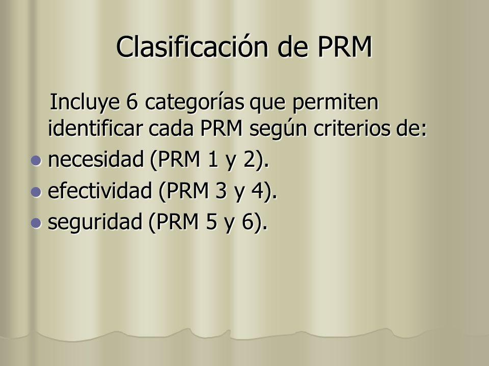 Clasificación de PRM Incluye 6 categorías que permiten identificar cada PRM según criterios de: necesidad (PRM 1 y 2).