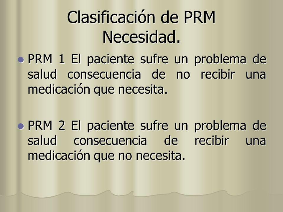 Clasificación de PRM Necesidad.