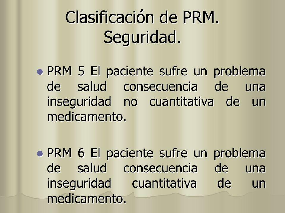 Clasificación de PRM. Seguridad.