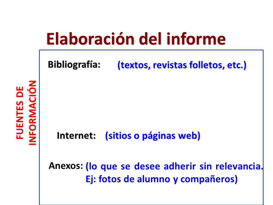 Elaboración del informe FUENTES DE INFORMACIÓN