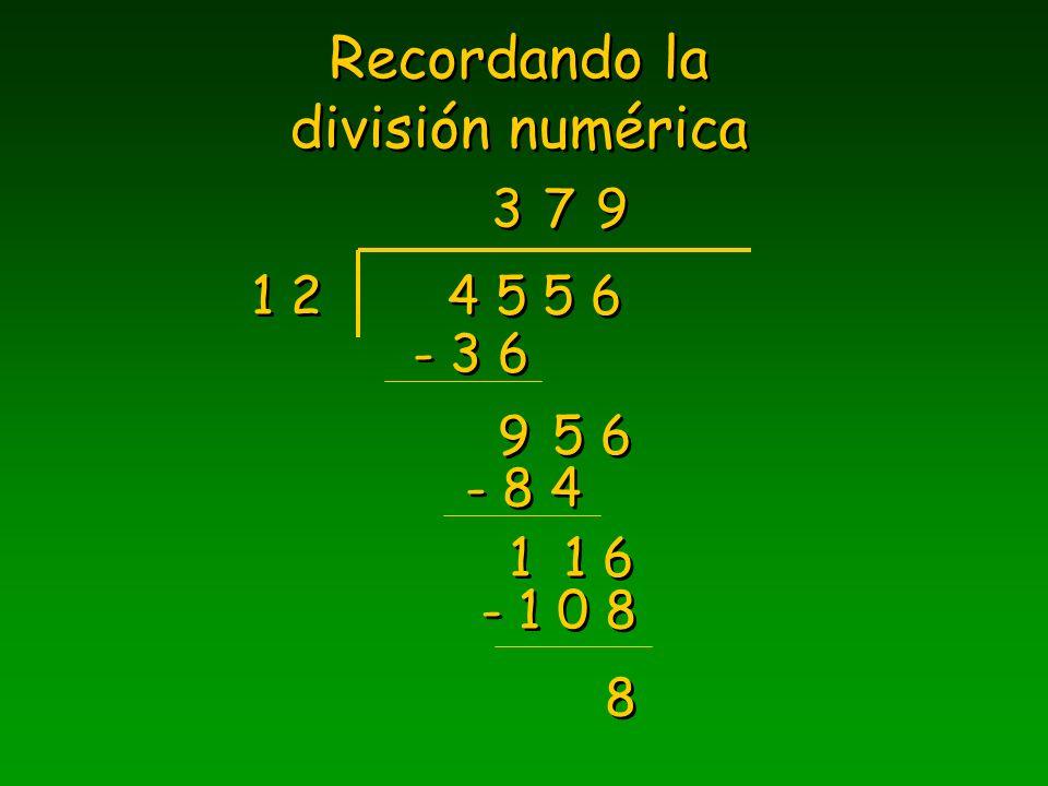 Recordando la división numérica